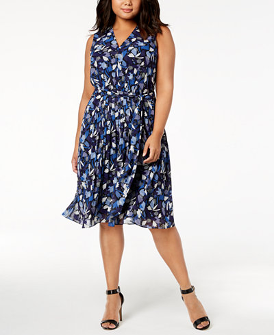 Anne Klein Plus Size Printed Pleated A-Line Dress