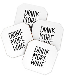 Deny Designs Chelcey Tate Drink More Wine Coaster Set