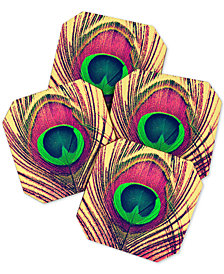 Deny Designs Shannon Clark Peacock Coaster Set
