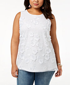 I.N.C. Plus Size Floral-Embellished Top, Created for Macy's