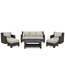 Viewport Outdoor Wicker 6-Pc. Seating Set (1 Sofa, 2 Swivel Gliders, 2 Ottomans & 1 Coffee Table) with Custom Sunbrella® Colors, Created for Macy's