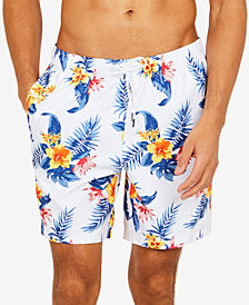 "Nautica Men's Hibiscus Floral-Print 8""Swim Trunks"