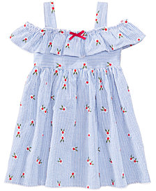 Blueberi Boulevard Embroidered Seersucker Cotton Dress, Toddler Girls