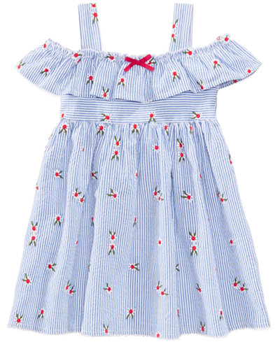 Blueberi Boulevard Embroidered Seersucker Cotton Dress, Toddler Girls