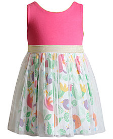 Sweet Heart Rose Glitter-Mesh Bird-Print Dress, Little Girls