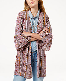 Gypsies & Moondust Juniors' Printed Bell-Sleeved Kimono