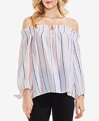 Striped Off The Shoulder Linen Top by Vince Camuto