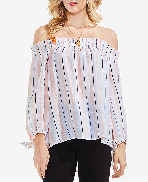 483519a13b9e8 Vince Camuto. Striped Off-The-Shoulder Linen Top. Be the first to Write a  Review. main image  main image