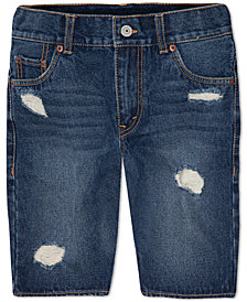Levi's® 511 Destroyed Cotton Denim Shorts, Little Boys