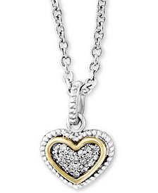 "EFFY Kidz® Children's Diamond Accent Heart 16"" Pendant Necklace in Sterling Silver & 18k Gold"