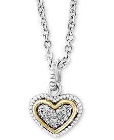 "EFFY Kidz® Children's Diamond Accent Heart 16"" Pendant Necklace in Sterling Silver & 18k Gold"