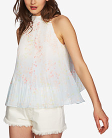 1.STATE Printed & Pleated Mock-Neck Top