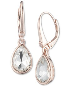 DKNY Rose Gold-Tone Crystal Drop Earrings, Created for Macy's