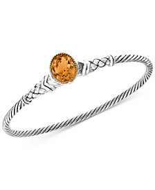 EFFY® Citrine Bangle Bracelet (3-9/10 ct. t.w.) in Sterling Silver & 18k Gold