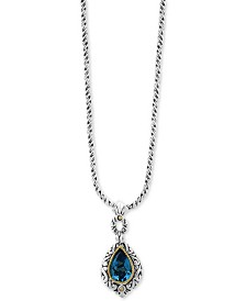 EFFY® Blue Topaz Pendant Necklace (3-9/10 ct. t.w.) in Sterling Silver & 18k Gold