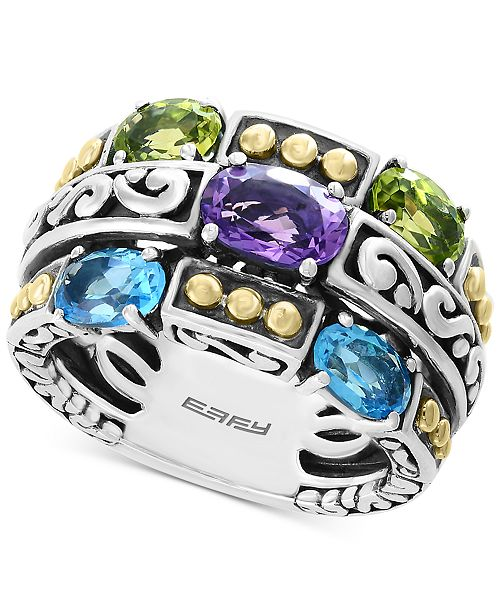 EFFY Collection EFFY® Multi-Gemstone Statement Ring (2-9/10 ct. t.w.) in Sterling Silver & 18k Gold