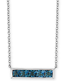 "EFFY® London Blue Topaz Horizontal Bar 18"" Pendant Necklace (1-1/6 ct. t.w.) in 14k White Gold"