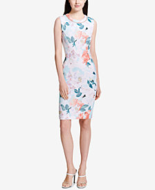 Calvin Klein Printed Faux-Pearl-Trim Sheath Dress
