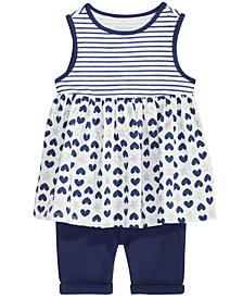 First Impressions Graphic-Print Top & Shorts Separates, Baby Girls, Created for Macy's