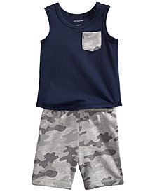 First Impressions Pocket Tank Top & Camo-Print Shorts Separates, Baby Boys, Created for Macy's
