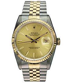 Pre-Owned Rolex Men's Swiss Automatic Datejust Jubilee 18K Gold & Stainless Steel Bracelet Watch 36mm
