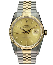 Pre-Owned Rolex Men's Swiss Automatic Datejust Jubilee 18K Gold & Stainless Steel Bracelet Watch 36mm