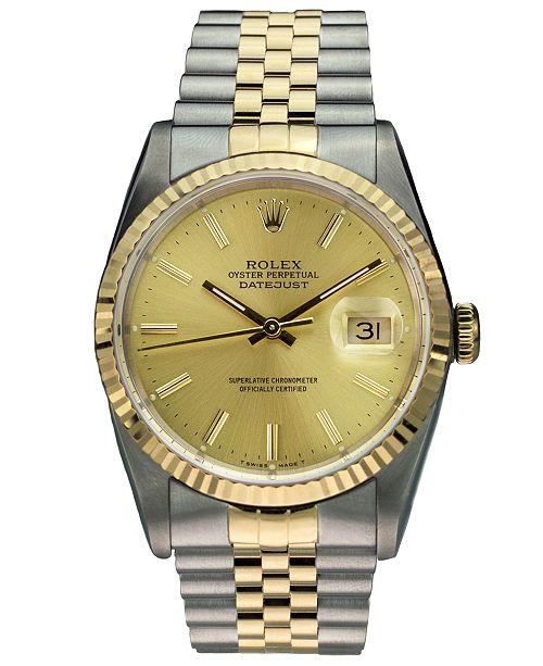 9c18ff2cd2c ... Pre-Owned Rolex Men s Swiss Automatic Datejust Jubilee 18K Gold    Stainless Steel Bracelet Watch ...