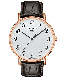 Tissot Men's Swiss T-Classic Everytime Brown Leather Strap Watch 42mm