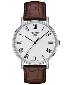 Tissot Men's Swiss T-Classic Everytime Brown Leather Strap Watch 38mm