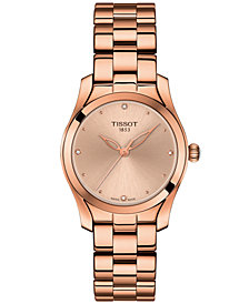 Tissot Women's Swiss T-Lady T-Wave Diamond-Accent Rose Gold-Tone PVD Stainless Steel Bracelet Watch 30mm