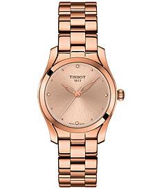 Tissot Women's Swiss T-Lady T-Wave Diamond-Accent Rose Gold-Tone PVD Stainless Steel Bracelet Watch 30mm