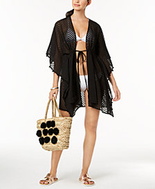 I.N.C. Sheer Jacquard Tassel Cover-Up, Created for Macy's