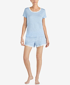 Lauren Ralph Lauren Fashion Knits Lace-Trim Pajama Set