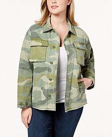 Trendy Plus Size  Cotton Camo-Print High-Low Hem Jacket