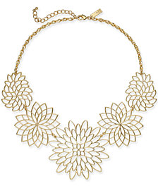 "I.N.C. Gold-Tone Flower Statement Necklace, 19"" + 3"" extender, Created for Macy's"