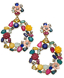 I.N.C. Gold-Tone Multi-Stone Flower Drop Hoop Earrings, Created for Macy's