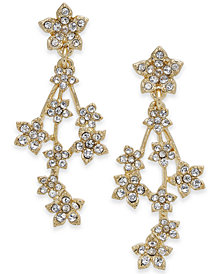 I.N.C. Silver-Tone Crystal Flower Cluster Linear Drop Earrings, Created for Macy's