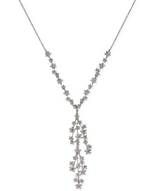 """INC Silver-Tone Crystal Cluster Flower Y-Necklace, 16"""" + 3"""" extender, Created for Macy's"""