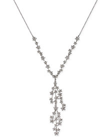 "I.N.C. Silver-Tone Crystal Cluster Flower Y-Necklace, 16"" + 3"" extender, Created for Macy's"