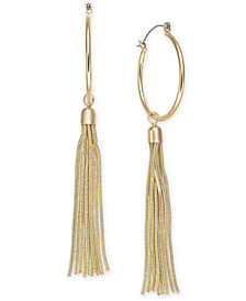 Thalia Sodi Gold-Tone Chain Tassel Hoop Earrings, Created for Macy's