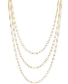 "Thali Sodi Gold-Tone Graduated Herringbone Layered Necklace, 30"" + 3"" extender, Created for Macy's"