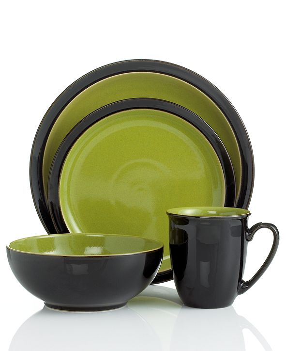 Denby Dinnerware Duets Black 4 Piece Place Setting