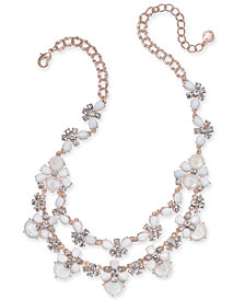 """Charter Club Rose Gold-Tone Crystal & Stone Double-Row Statement Necklace, 17-1/2"""" + 2"""" extender, Created for Macy's"""