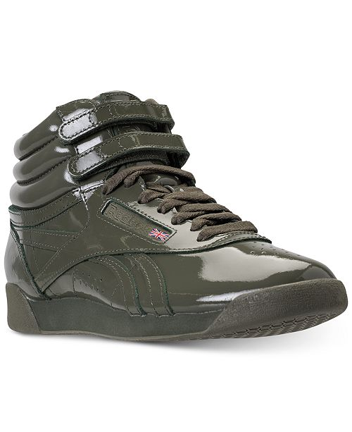 3cb96528fe81 Reebok Women s Freestyle High Top Patent Casual Sneakers from Finish Line