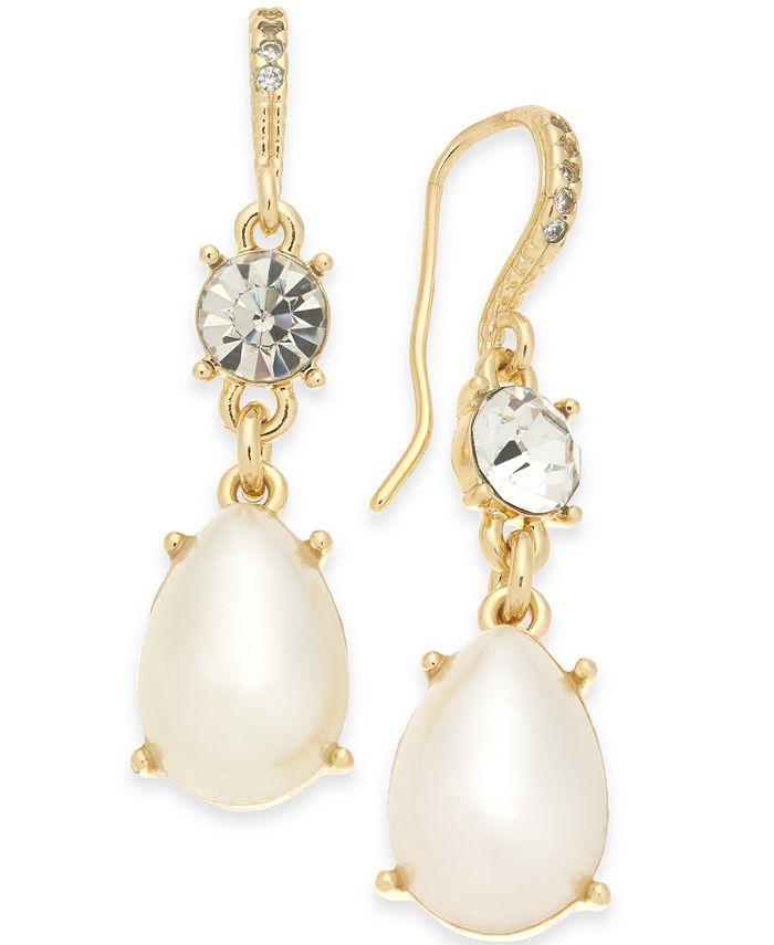 Charter Club - Gold-Tone Crystal & Imitation Pearl Drop Earrings