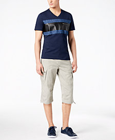 I.N.C. Men's Faux-Leather Pieced V-Neck T-Shirt & Extra Long Messenger Shorts, Created for Macy's