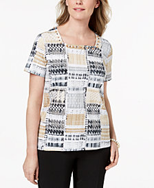 Alfred Dunner Embellished Square-Neck Top