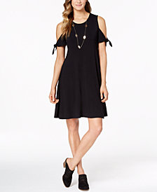 Style & Co Cold-Shoulder Swing Dress, Created for Macy's