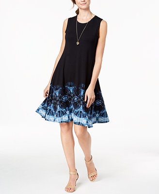 Petite Printed Hem Swing Dress, Created For Macy's by Style & Co