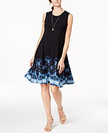 Style & Co Tie-Dyed A-Line Dress, Created for Macy's